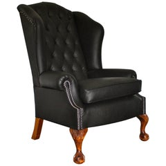 "George Smith ""Wingback"" Armchair in Sublime Black Leather"