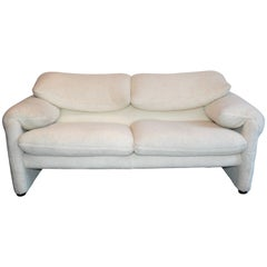 Cassina Maralunga Designer Sofa Wool White Two-Seat Function Couch Modern