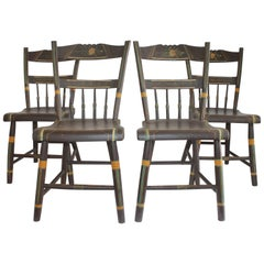 19th Century Original Paint Decorated Pennsylvania Plank Bottom Chairs