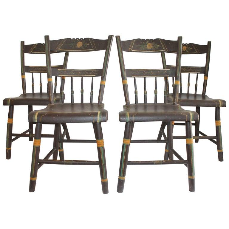 19th Century Original Paint Decorated Pennsylvania Plank Bottom Chairs