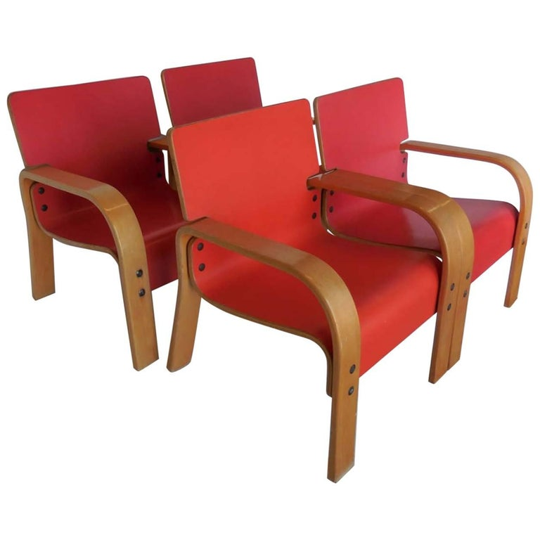 Set of Four Bent Plywood Lounge Chairs