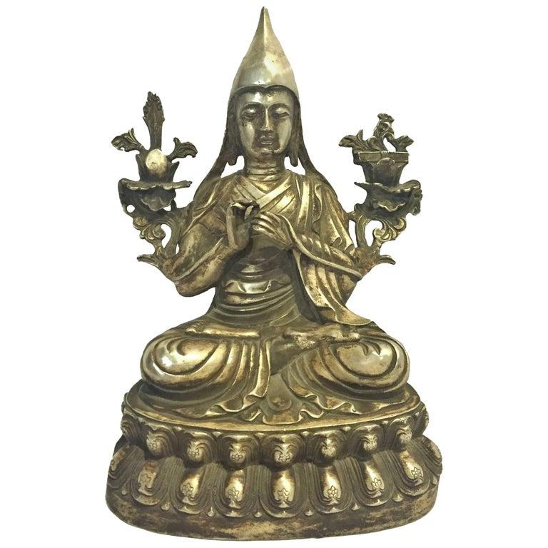 Silvered Bronze Tibetan Statue of Teacher, God of Wisdom