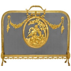 Exceptional Louis XVI Style Gilded Bronze Screen Fire