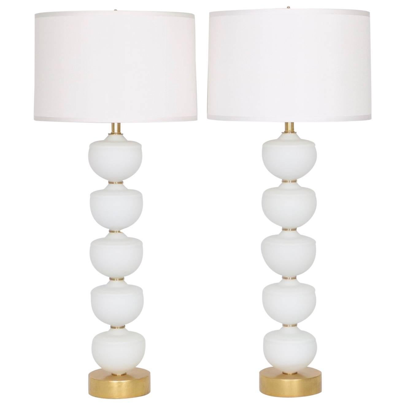 Monumental Pair Of Murano Glass Font Lamps