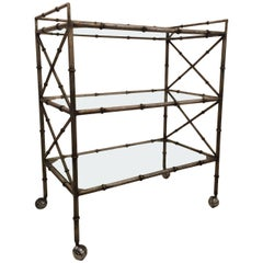 Midcentury Solid Iron Silvered Beverage Cart
