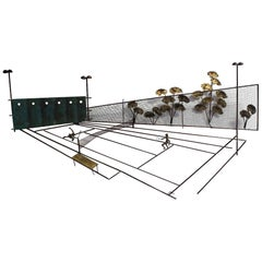 Mid-Century Modern Rare Signed Curtis Jere 1975 Tennis Hanging Wall Sculpture