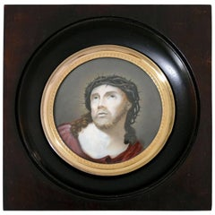 Antique 19th Century French Miniature Portrait Hand-Painting of Christ