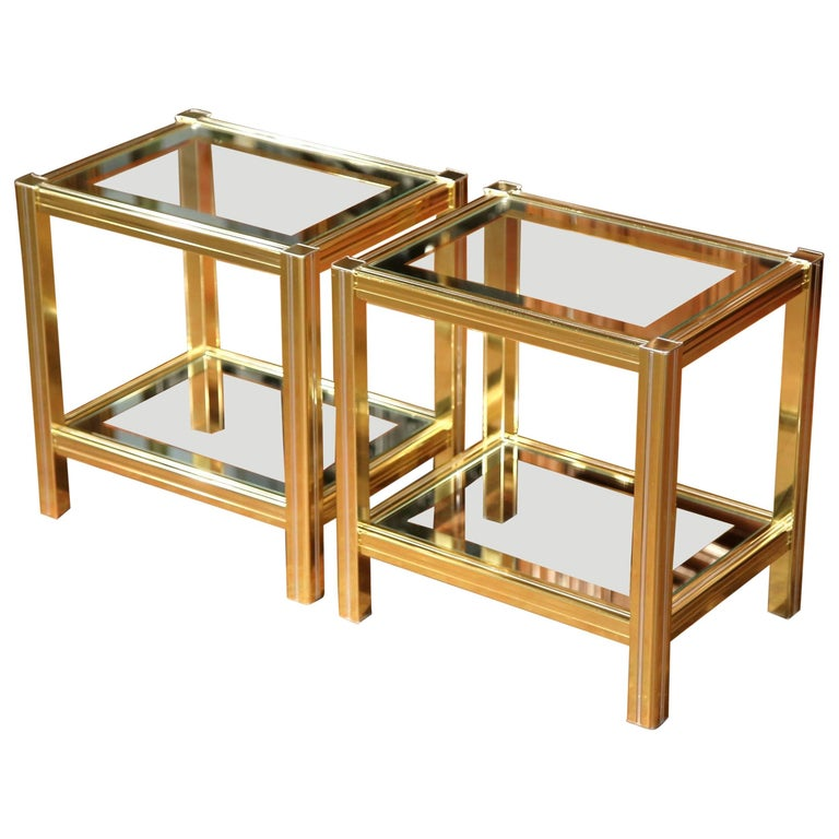 Pair of Mid-20th Century French Neoclassical Metal and Glass End Tables