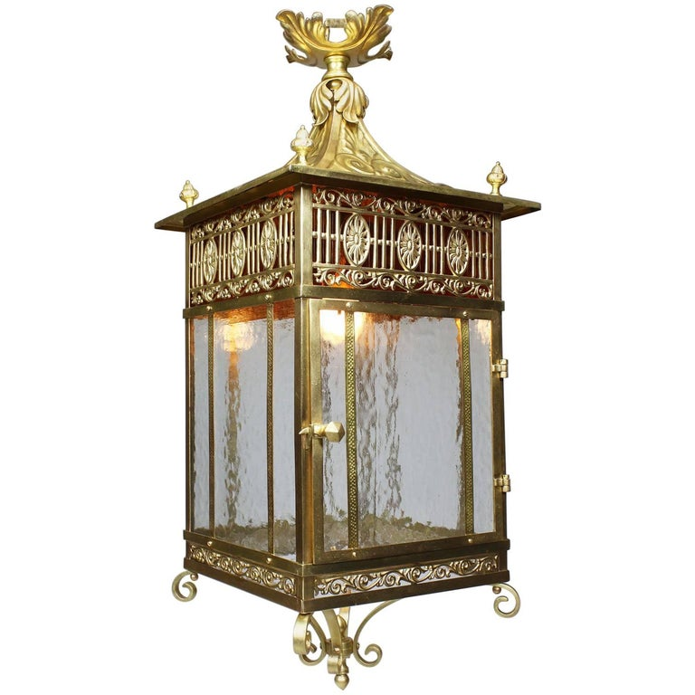 English Early 20th Century Chippendale Style Brass & Gilt-Metal Hanging Lantern