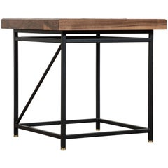 Solid Walnut and Ceramic Side Table by Heather Rosenman for Collabs in Clay