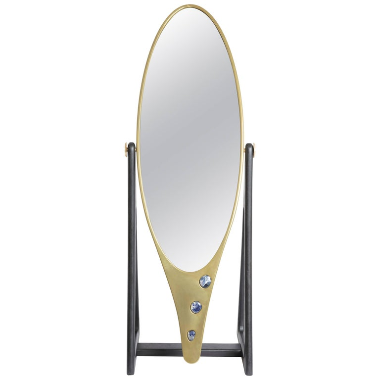 Brass and Corian 'Kookie' Freestanding Mirror by Felice James For Sale
