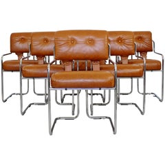 Mid-Century Modern Six Mariani Tucroma for Pace Chrome Dining Chairs Italian