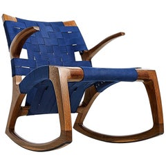 Fumed White Oak Wood Luna Rocking Chair with Webbed Seat by Goebel