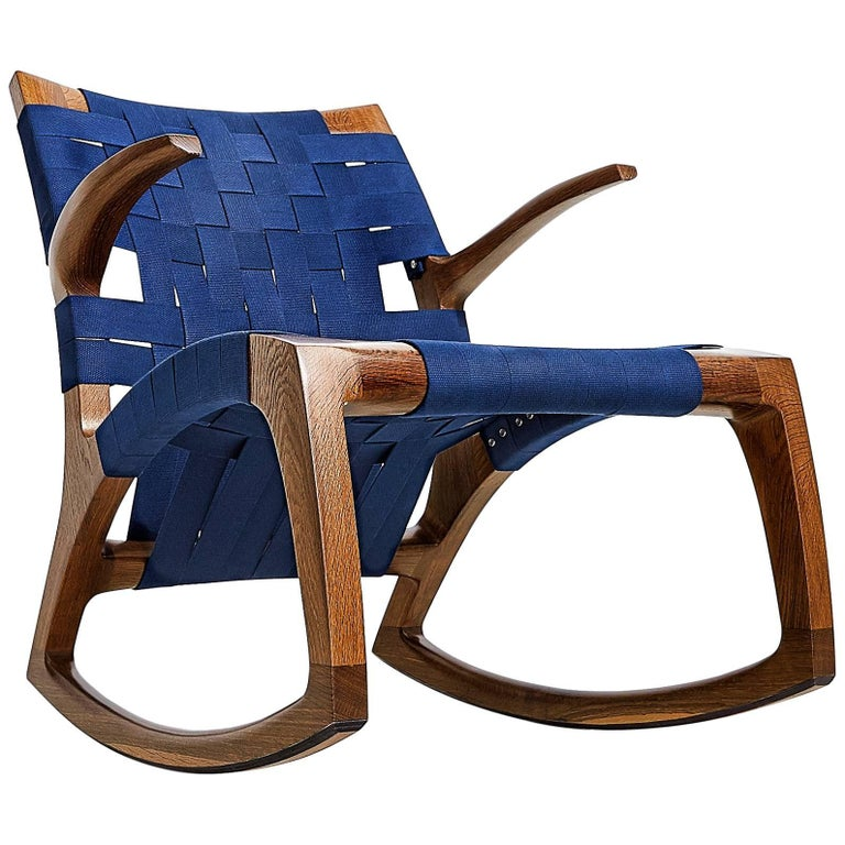 Walnut Wood Luna Rocking Chair with Webbed Seat by Goebel