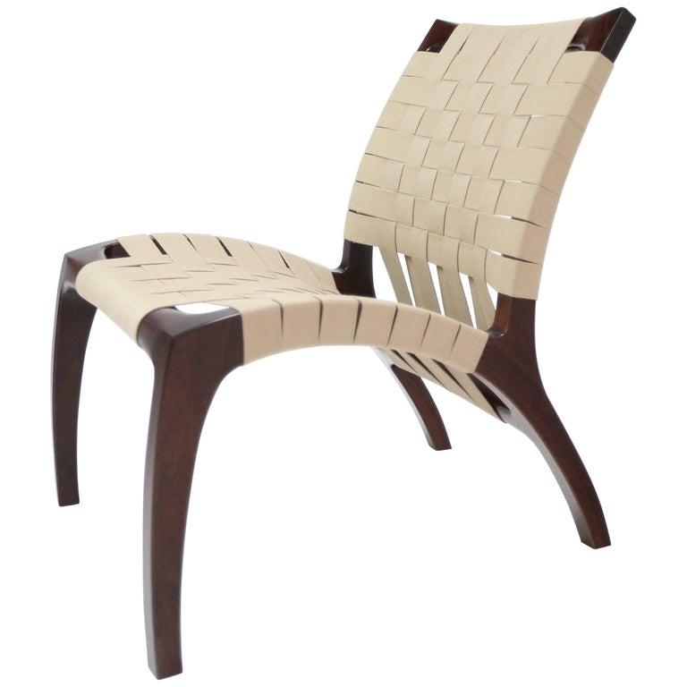 Luna Chair Handcrafted Webbed Modernist Design in White Oak Ergonomic Back