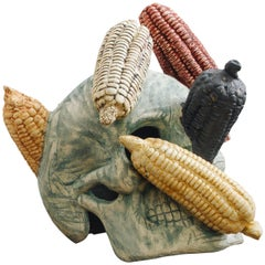 Mexican Ceramic Corn Skull Sculpture Hand Crafted Folk Art, Edition 1/30