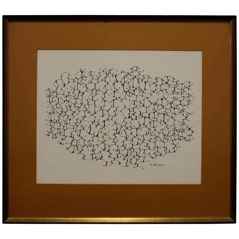 Mid-Century Black and White Lithograph Signed Cottingham