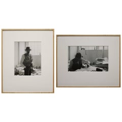 Pair of Framed Black and White Self Portraits Photographs by Gottfried Tollman