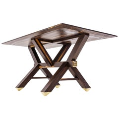 Calypso Table Contemporary Handmade Solid Ziricote Wood and Brass and Seats Six