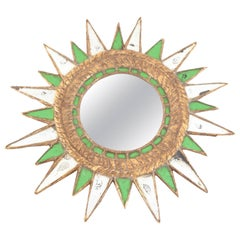 Sunburst Green Glass Mirror
