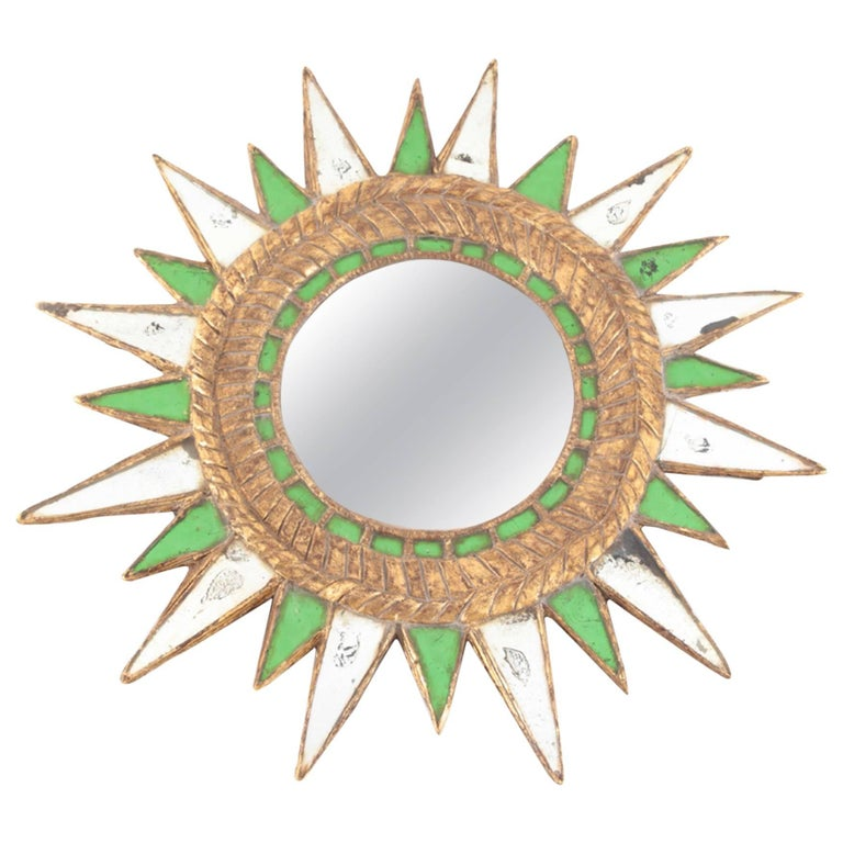 Sunburst Green Glass Mirror For Sale