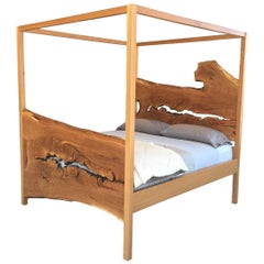 Live Edge Slab Wood Canopy Bed, Customizable, by Goebel
