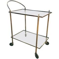 Vintage Brass Copper Bar Cart