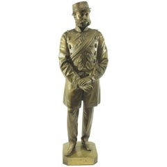 Bronze Portrait Figure of a British HAC Military Officer, T. Fowke London, 1865