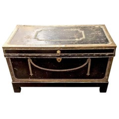 Early 19th Century Regency Leather Clad Campaign Chest