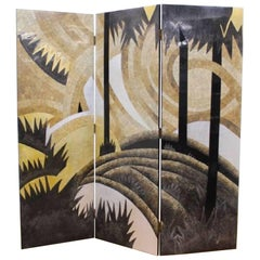 Art Deco Style Egg Shell Lacquer Three-Panel Screen in the Manner of Jean Dunand
