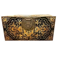 20th Century Chinese Painted Lacquered Chinoiserie Trunk or Chest