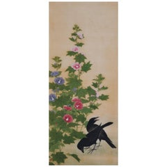 19th Century Japanese Bird and Flower Painting, Ravens and Hibiscus