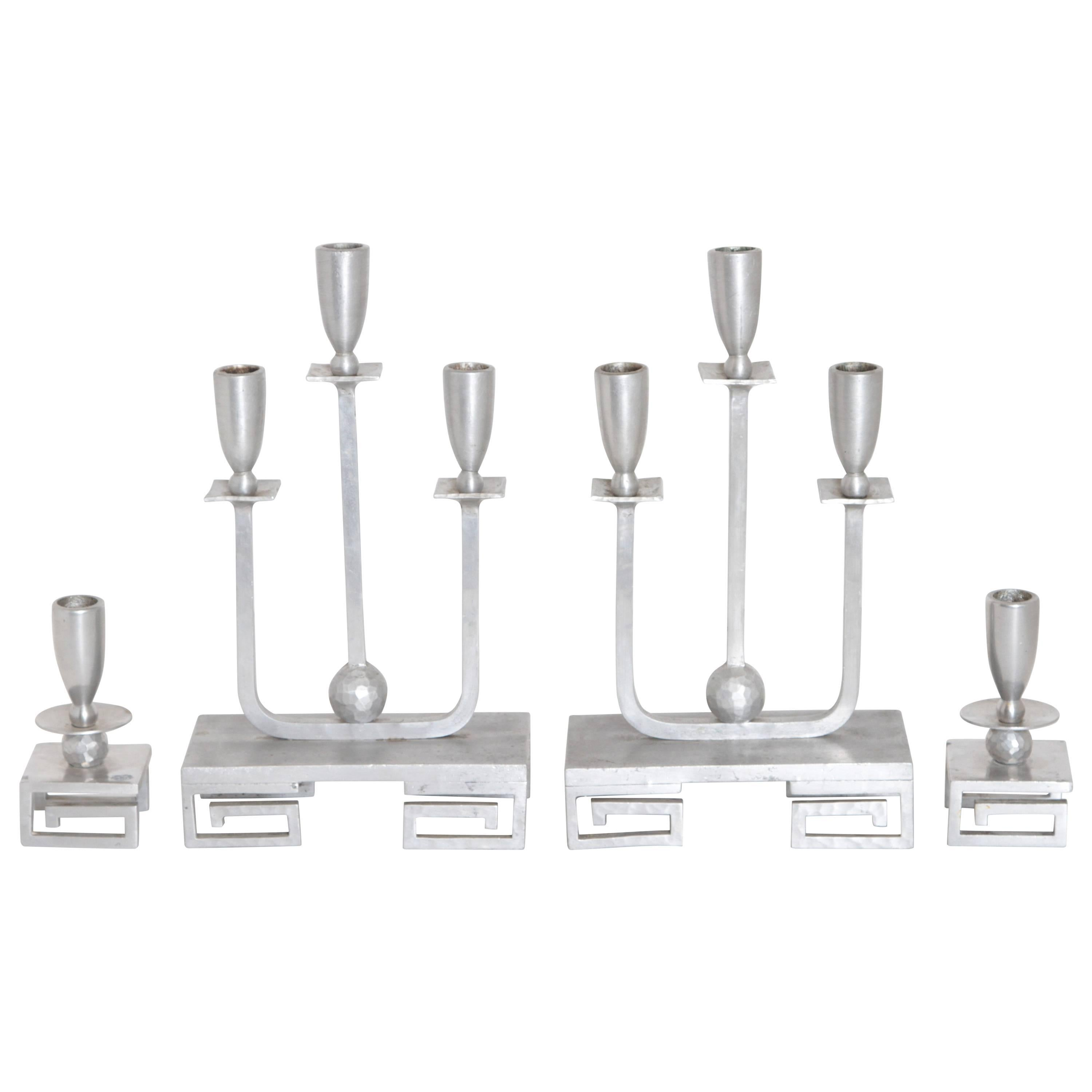 Machine Age Hand-Wrought Aluminium Palmer Smith Candlestick Holders, Two Pairs