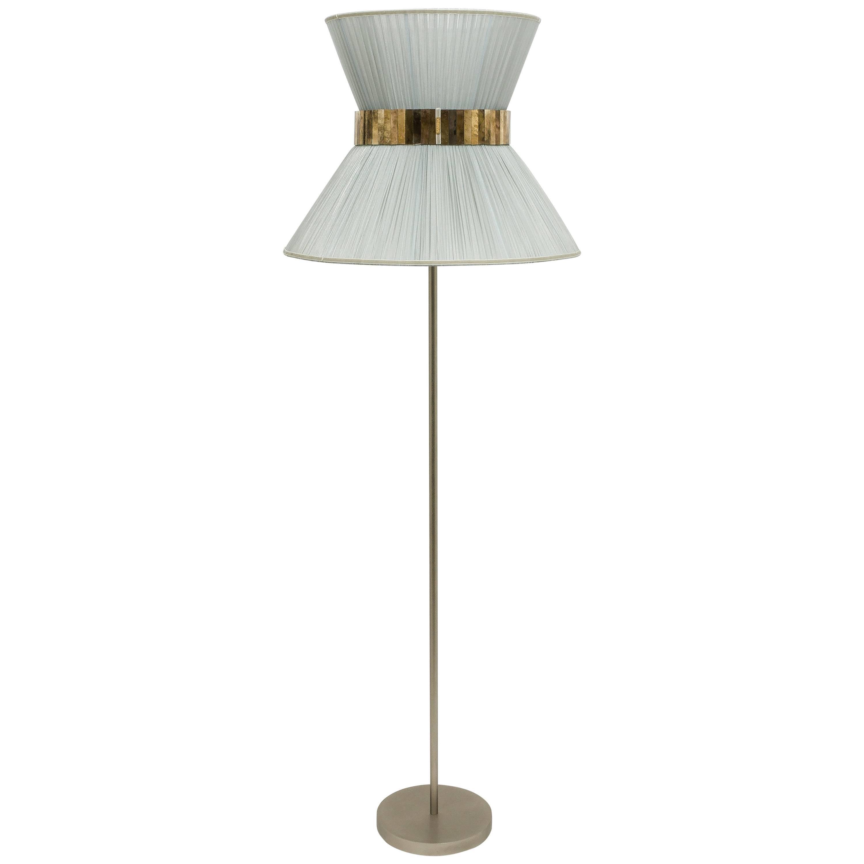 Tiffany contemporary Floor Lamp 60 silver Silk, nickel Brass , Silvered Glass