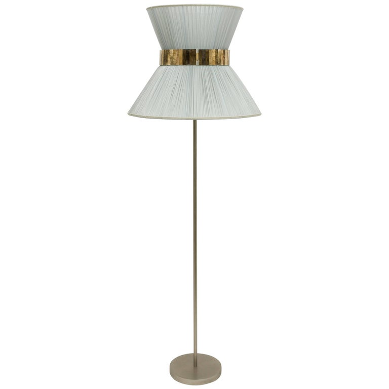 Tiffany contemporary Floor Lamp silverl Silk, nickel Brass , Silvered Glass   For Sale