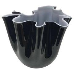 Venini Black and White Vase Fazzoletto, 1998, Fulvio Bianconi