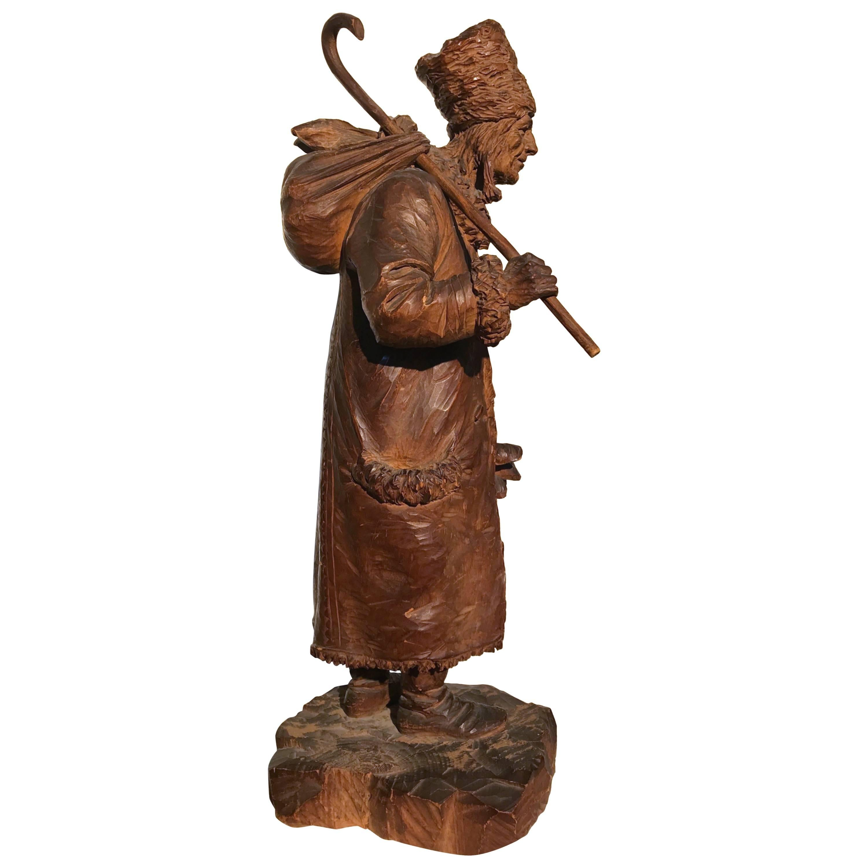 Antique & Amazing Quality Hand-Carved Wooden Sculpture / Pilgrim Traveler Statue