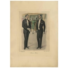 Antique Print of Men's Fashion by H. Wetteroth, circa 1915