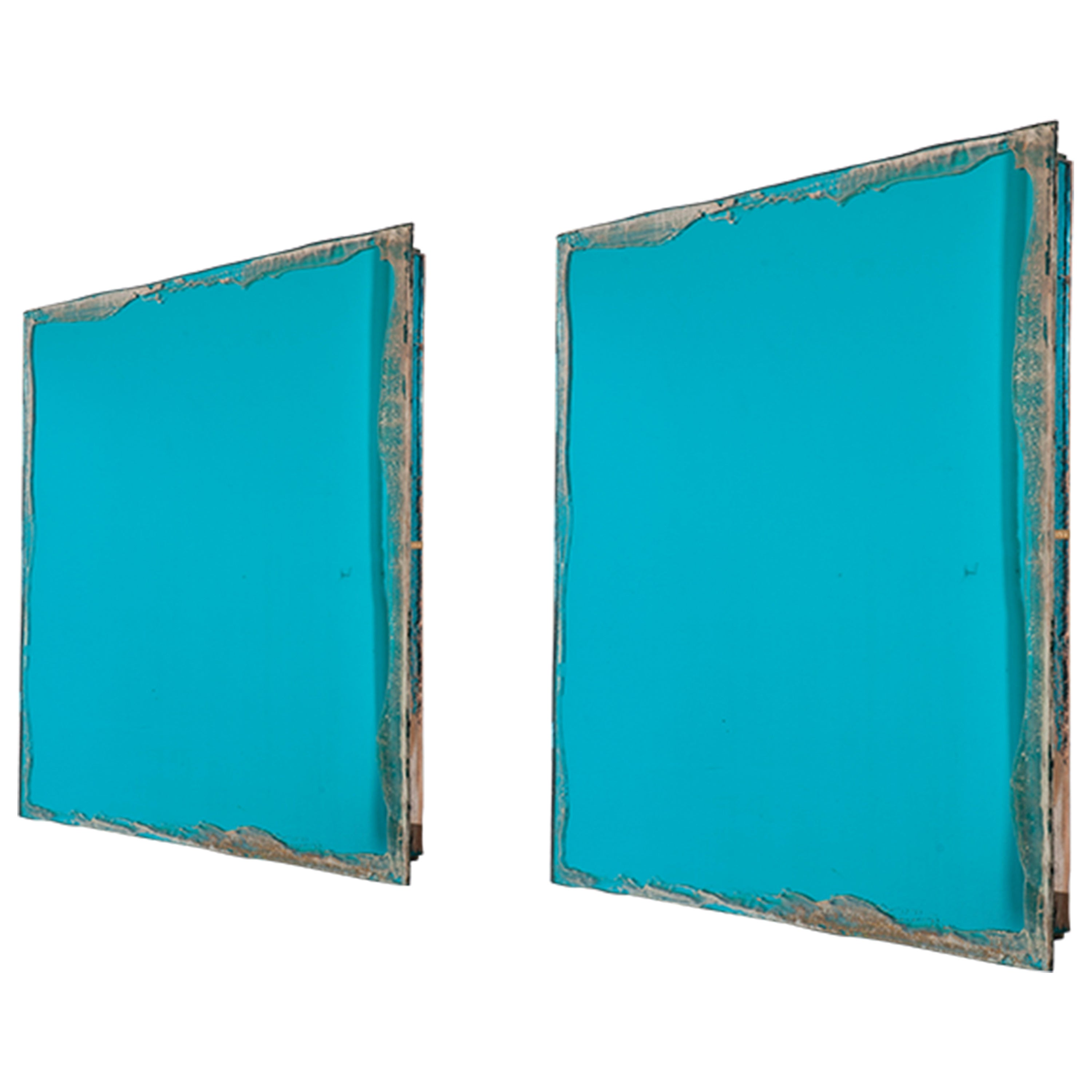 """Shiny"" contemporary mirror, aquamarine 70's silvered glass, birch wood"