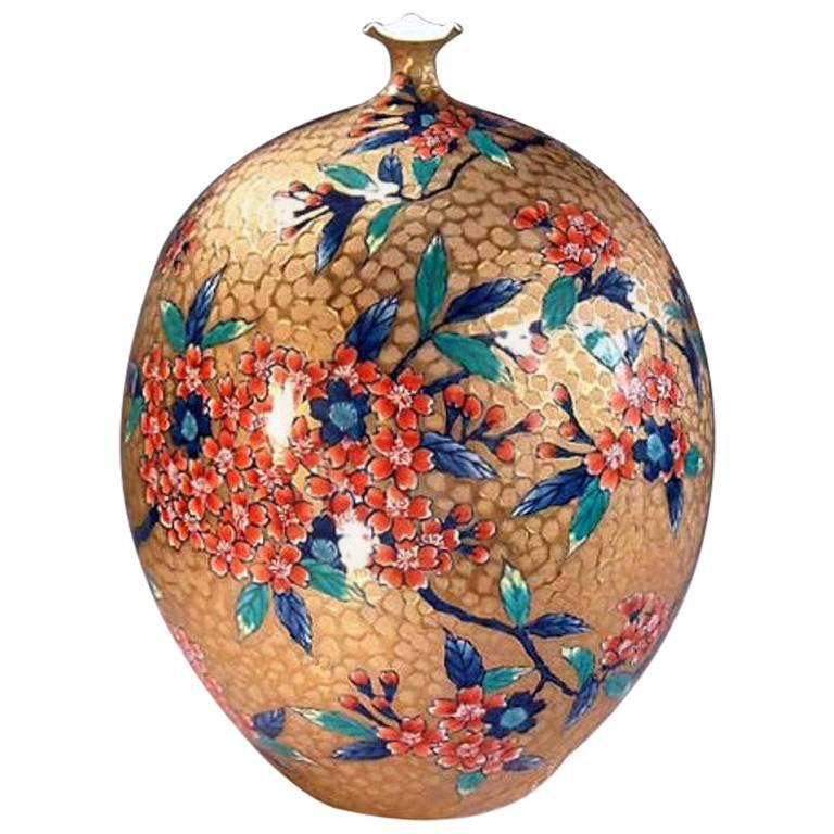 Japanese Gilded Porcelain Decorative Vase by Master Artist