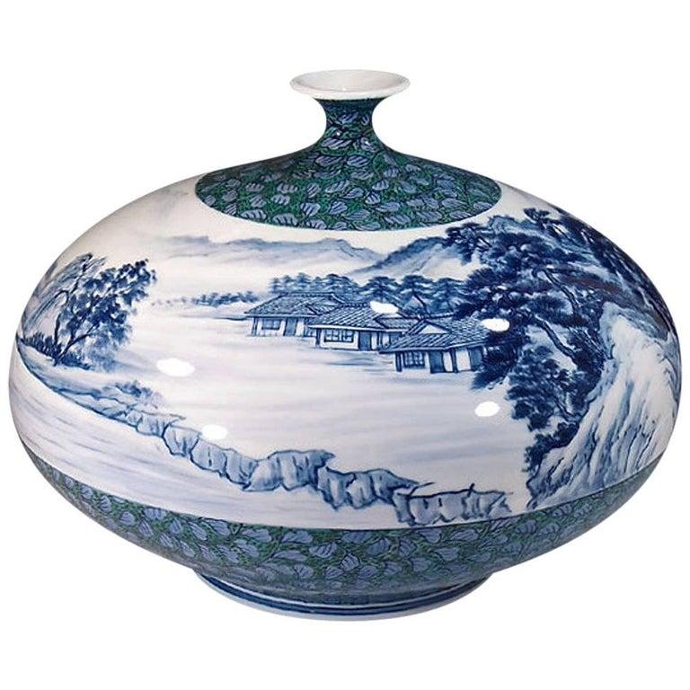 Japanese Imari Ovoid Hand-Painted Porcelain Vase by Master Artist