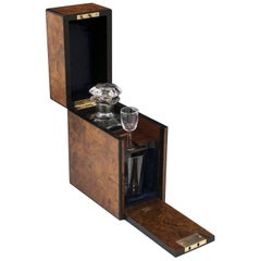 Antique Burr Walnut Ebony Edged Single Decanter Box, 19th Century