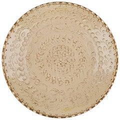 One of a Kind Cream Ceramic Decorative Plate