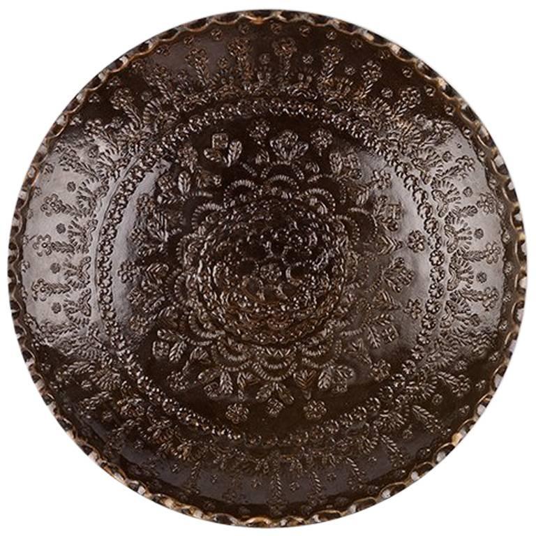 One of a Kind Dark Brown Ceramic Decorative Plate 1