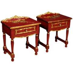 20th Century Pair of Spanish Lacquered Bedside Tables