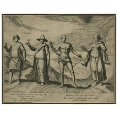 Antique Print of Malay and Javanese People by J. Doetichum, 1596