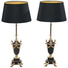 Pair of 20th Century Marble and Gilt Lamps in the Neoclassical Style