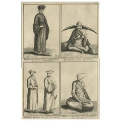 Antique Print of 'Chinese' Priests and Beggars by B. Picart, circa 1728