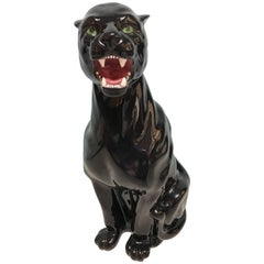 Vintage Ceramic Black Panther by Capodimonte