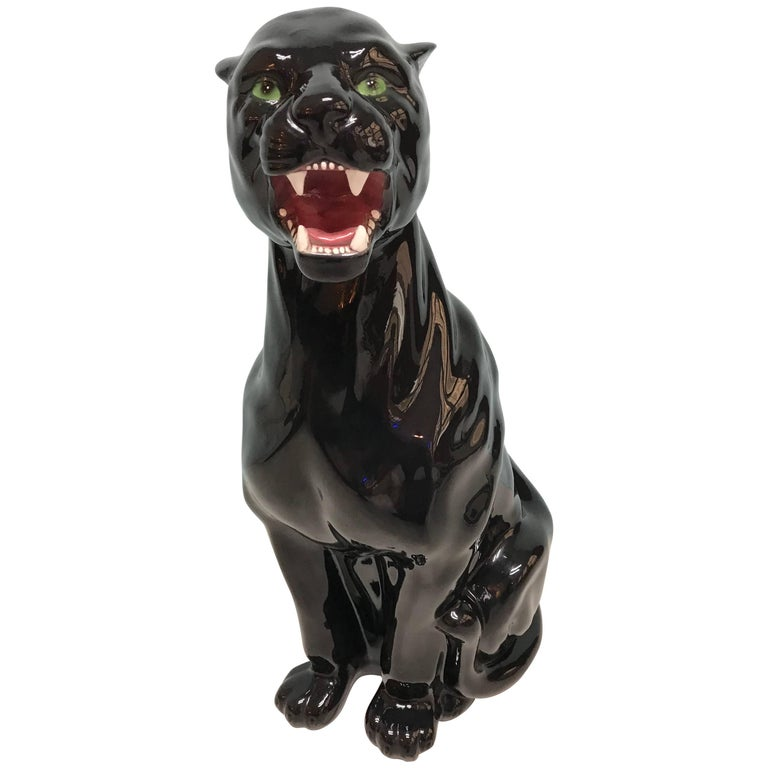 Vintage ceramic black panther by capodimonte at 1stdibs - Ceramic black panther statue ...